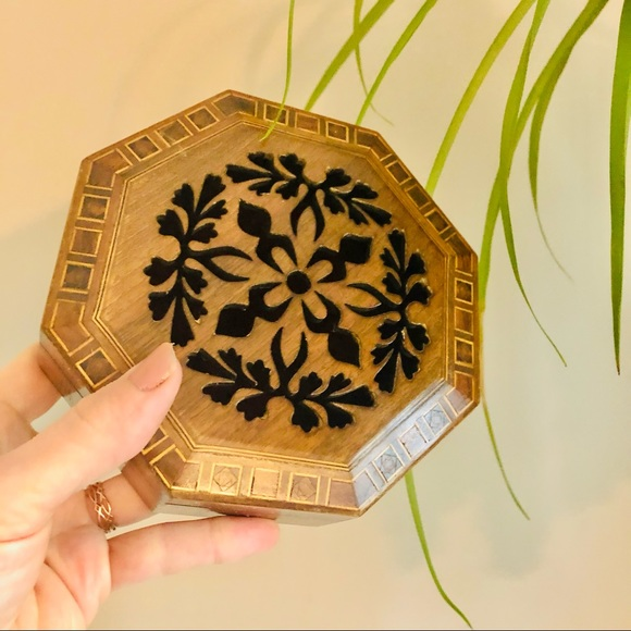Vintage Floral Carved Wooden Trinket Jewelry Box